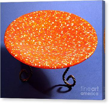 Orange Yellow And White Murrini Bowl With Stand Canvas Print by P Russell