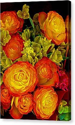 Orange Yellow Rose Pouquet Canvas Print by Linda Phelps