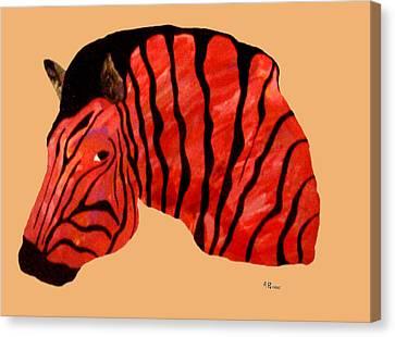 Orange Zebra Canvas Print by Andrew Petras