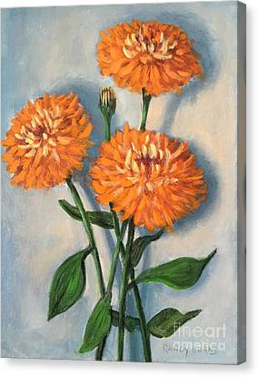 Canvas Print featuring the painting Orange Zinnias by Randol Burns