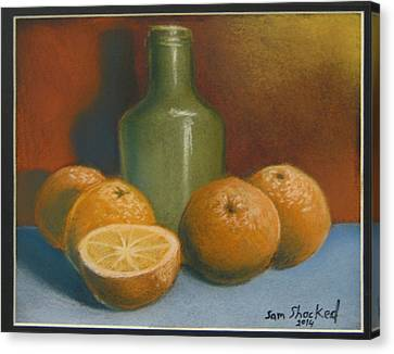 Oranges And A Wine Jug Canvas Print by Sam Shacked
