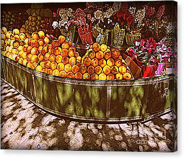 Canvas Print featuring the photograph Oranges And Flowers by Miriam Danar