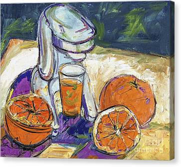 Oil Sketch Canvas Print - Oranges And Juicer Still Life by Ginette Callaway