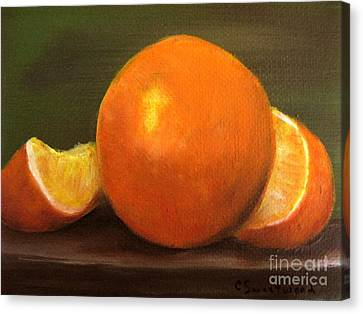 Canvas Print featuring the painting Oranges by Carol Sweetwood