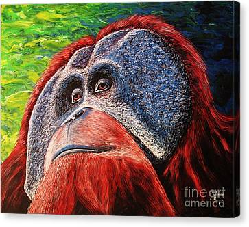 Canvas Print featuring the painting Orangutan by Viktor Lazarev