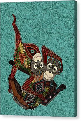 Orangutans Blue Canvas Print