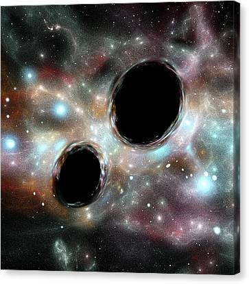 Orbiting Black Holes Canvas Print by Russell Kightley