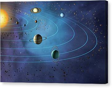 Uranus Canvas Print - Orbits Of Planets In The Solar System by Mark Garlick