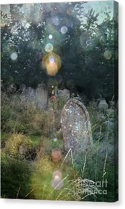 Headstones Canvas Print - Orbs In Overgrown Cemetery by Jill Battaglia