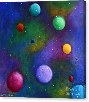 Canvas Print featuring the painting Orbs In Space by Alison Caltrider