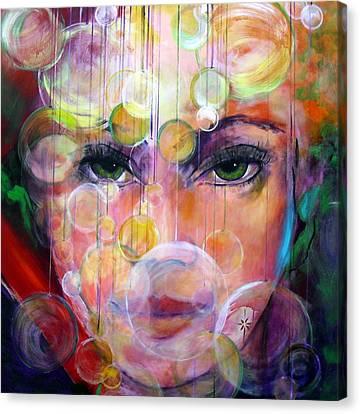 Canvas Print featuring the painting Orbs by Jodie Marie Anne Richardson Traugott          aka jm-ART