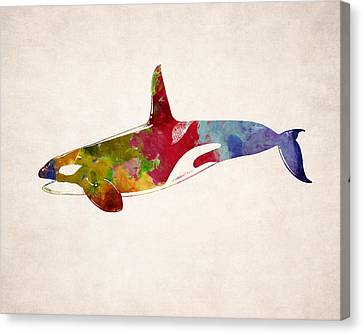 Orca - Killer Whale Drawing Canvas Print by World Art Prints And Designs