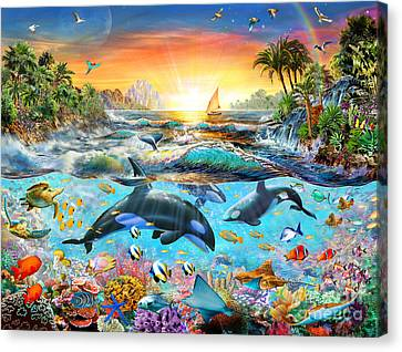 Orca Paradise Canvas Print by Adrian Chesterman