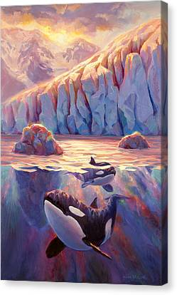 Orca Sunrise At The Glacier Canvas Print by Karen Whitworth