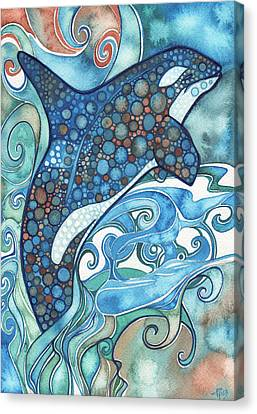 Canvas Print featuring the painting Orca by Tamara Phillips