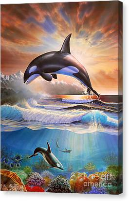 Orcas Canvas Print by Adrian Chesterman