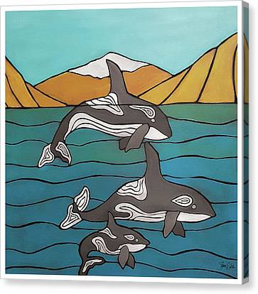 Orcas In The Bay Canvas Print by Shanni Welsh