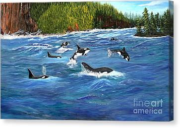Orcas Canvas Print by Myrna Walsh