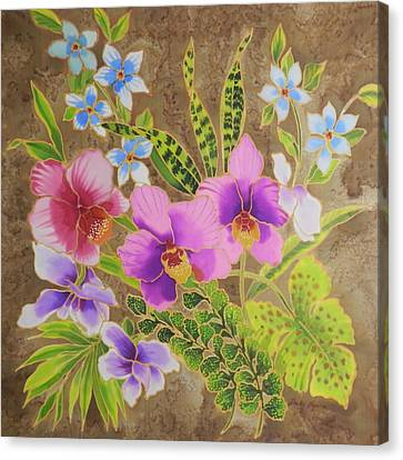 Orchid Bouquet On Silk Canvas Print by Leslie  Rogers Todder