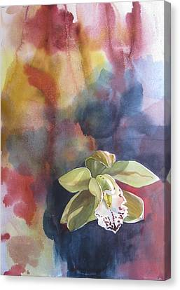 Alfred Ng Art Canvas Print - Orchid With Abstraction by Alfred Ng
