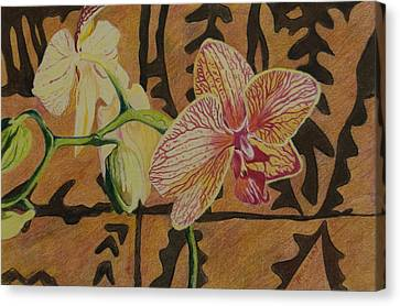 Orchid With Tapa Canvas Print by Terry Holliday