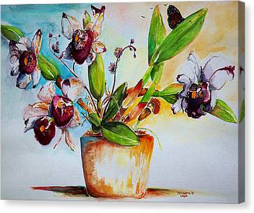 Canvas Print featuring the painting Orchids Of The Bay by Bernadette Krupa