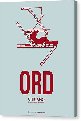 Plane Canvas Print - Ord Chicago Airport Poster 3 by Naxart Studio