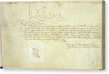 Order Signed By Elizabeth I Canvas Print by British Library