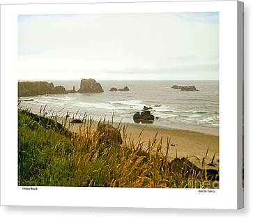 Canvas Print featuring the digital art Oregon Beach by Kenneth De Tore