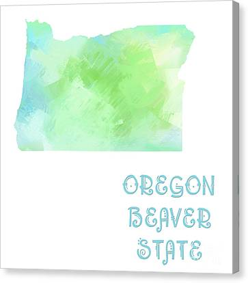 Oregon - Beaver State - Map - State Phrase - Geology Canvas Print