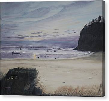 Canvas Print featuring the painting Oregon Coast by Ian Donley