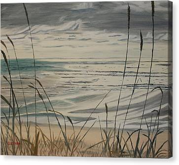 Canvas Print featuring the painting Oregon Coast With Sea Grass by Ian Donley