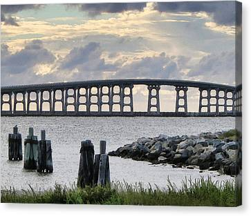 Oregon Inlet Bridge And Pilings Canvas Print by Patricia Januszkiewicz