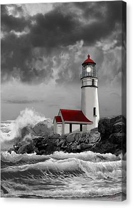 Sea And Sky Canvas Print - Oregon Lighthouse Cape Blanco In Black White And Red by Regina Femrite