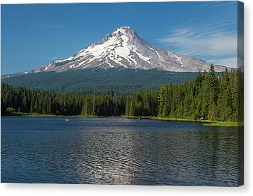Oregon Mt Hood Rising Above Trillium Canvas Print by Michael Qualls