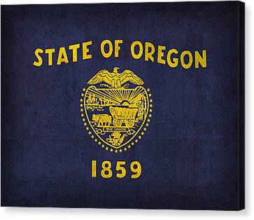 Oregon State Flag Art On Worn Canvas Canvas Print by Design Turnpike