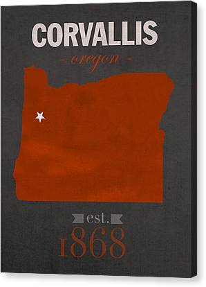 Oregon State University Beavers Corvallis College Town State Map Poster Series No 087 Canvas Print