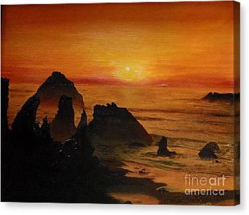 Canvas Print featuring the painting Oregon Sunset by Suzette Kallen