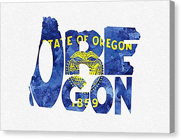 Oregon Typographic Map Flag Canvas Print by Ayse Deniz