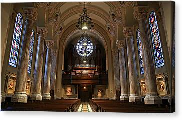Organ -- Cathedral Of St. Joseph Canvas Print by Stephen Stookey