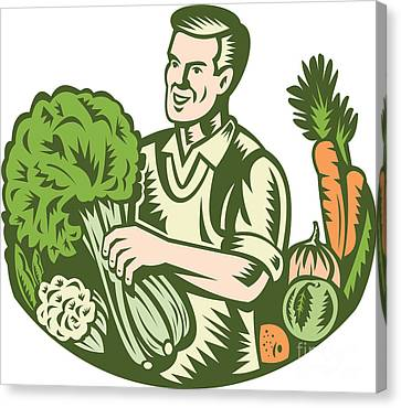 Organic Farmer Green Grocer With Vegetables Retro Canvas Print by Aloysius Patrimonio