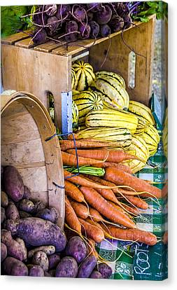 Locally Grown Canvas Print - Organic Vegetable Farm Stand by Julie Palencia