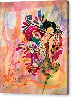 Blue Canvas Print - Oriental Beauty Colorful by Georgiana Romanovna