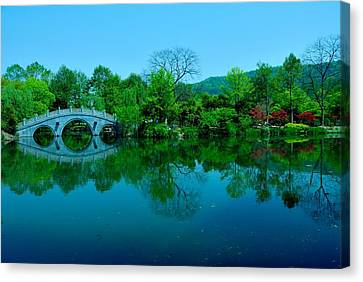 Oriental Bridge Over West Lake Canvas Print
