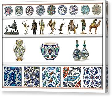 Oriental Ceramics Pottery And Bronze Art Collection Canvas Print