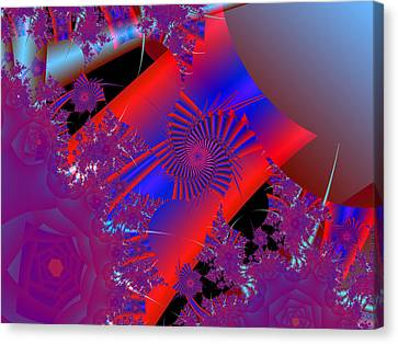 Canvas Print featuring the digital art Oriental In Red by Ann Peck
