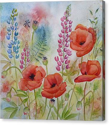 Oriental Poppies Meadow Canvas Print by Carla Parris