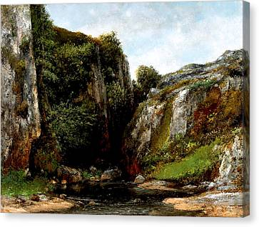 Canvas Print featuring the digital art Origin Of A Stream by Gustave Courbet
