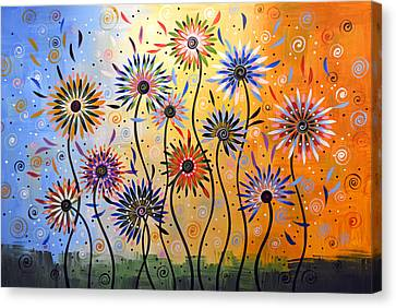 Original Abstract Modern Flowers Garden Art ... Explosion Of Joy Canvas Print