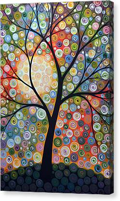 Original Abstract Tree Landscape Art Painting ... Waiting For The Moon Canvas Print by Amy Giacomelli